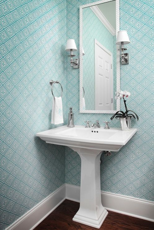 Beautiful Wood Paneled Rooms: Blue Geometric Wallpaper, Pedestal Sink