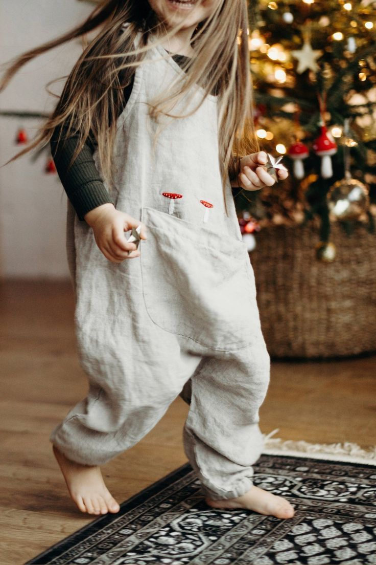 Photo of Linen Jumpsuit Sunny with Large Handmade Embroidery / Linen Kids Overall in Light Grey / more colors available