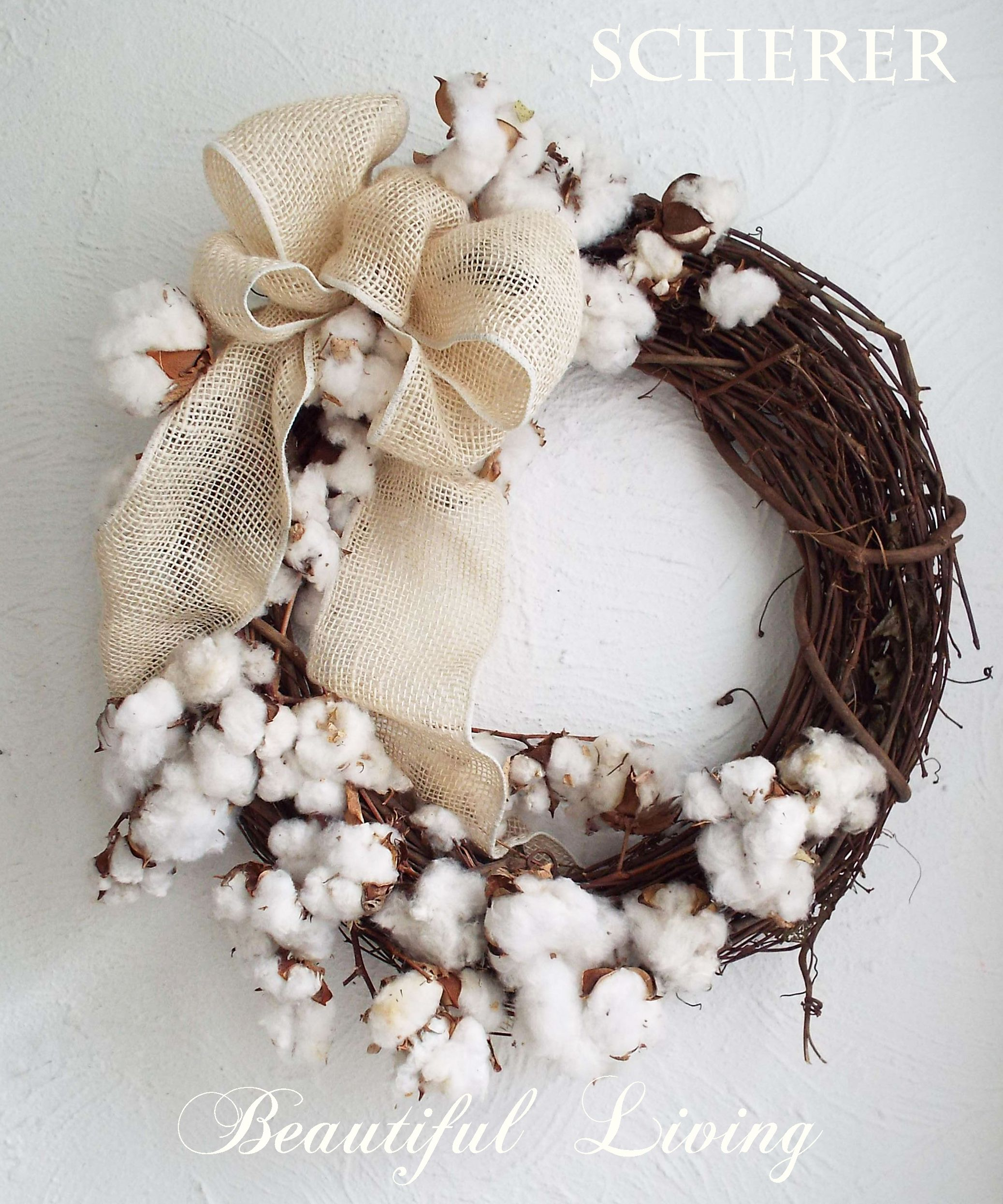 Nature cotton wreath grapevine home decor boll wall eco friendly floral fall cotton wreath - Cotton ballspractical ideas ...