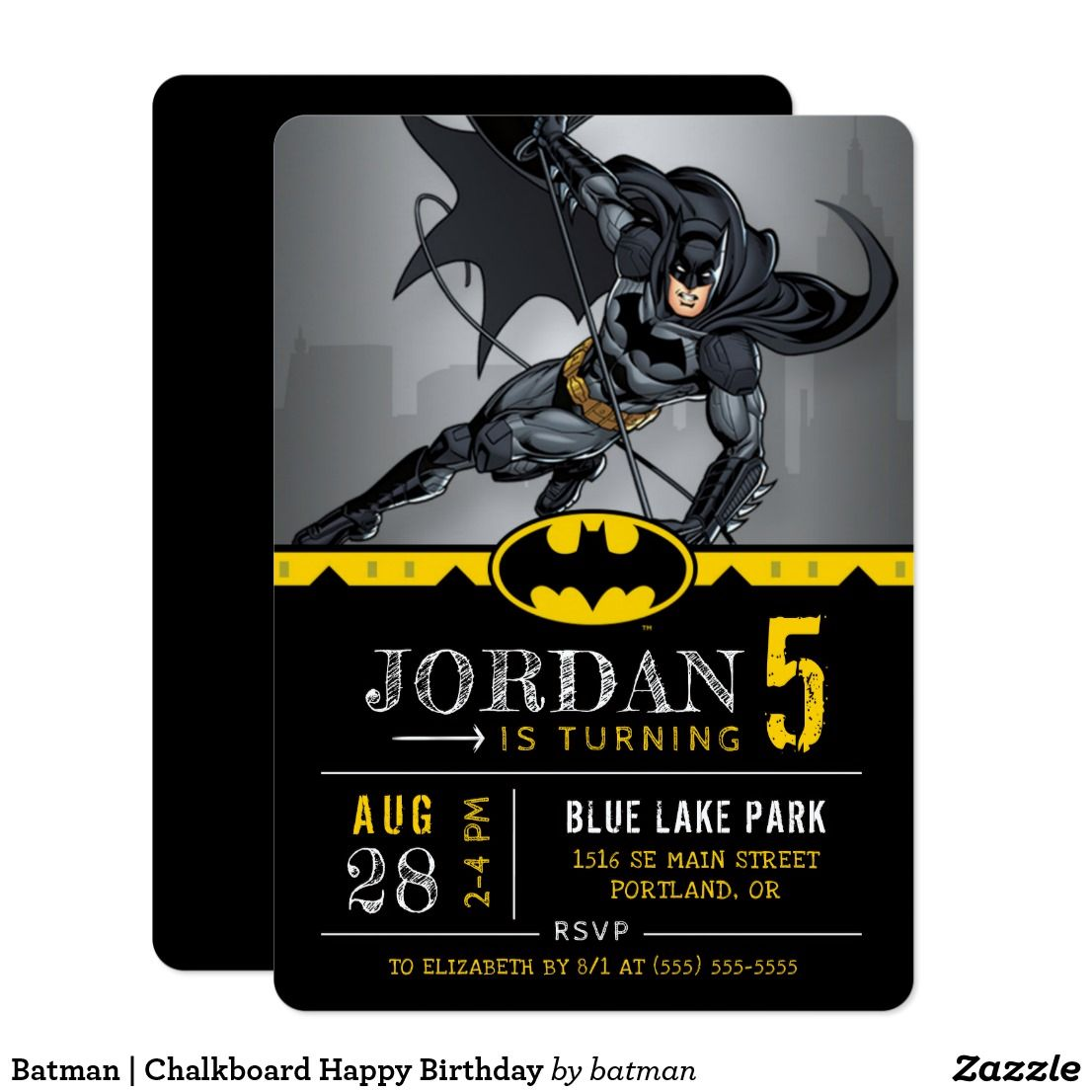 Batman chalkboard happy birthday invitation everyones favorite superhero batman proves that you dont need super powers to be a superhero in these cool