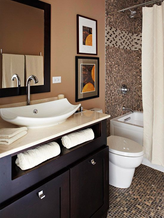 Baths With Stylish Color Combinations  Sinks Towels And Brown Beauteous Small Black Bathrooms Inspiration Design