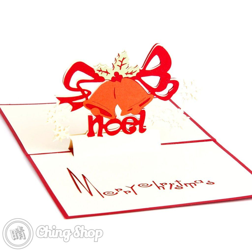 Christmas Bell Greeting 3d Pop Up Card Detail Style3dcard