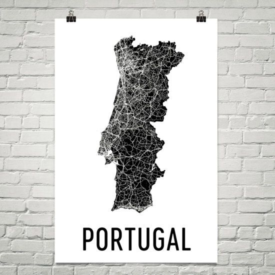 Portugal Map Map Of Portugal Portugal Art Portugal Print Etsy Portugal Map Wall Art Map Poster