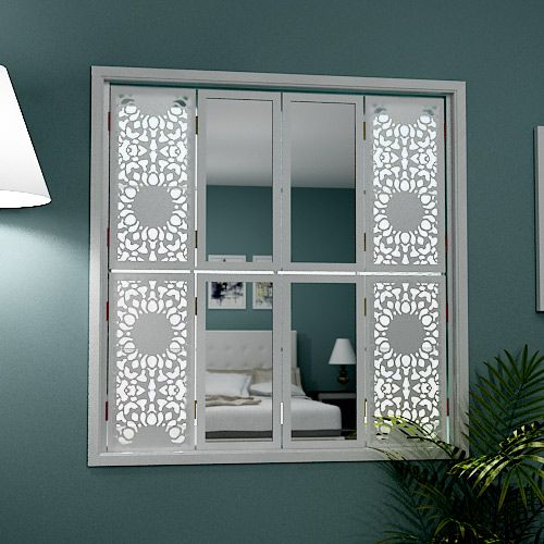 Mirror window shutters in stylish design · laser cut metallaser cuttinginterior window shutterswindow stylesdecorative