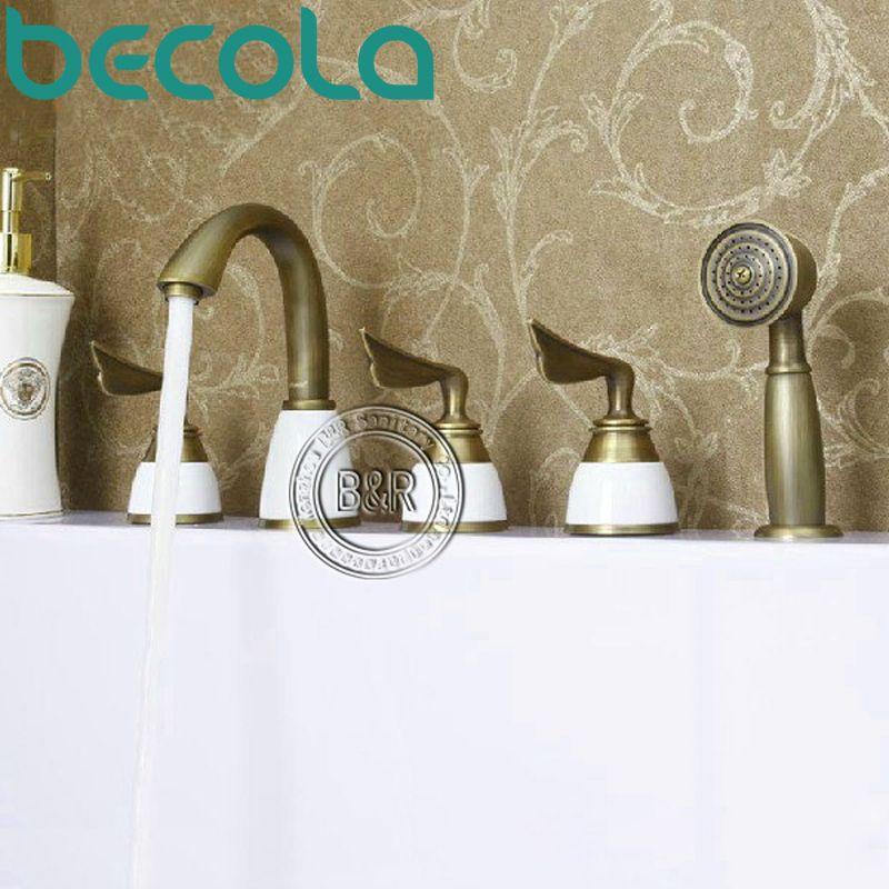 Freeshipping antique tub faucet Bathroom Brass Mixer Three handles ...