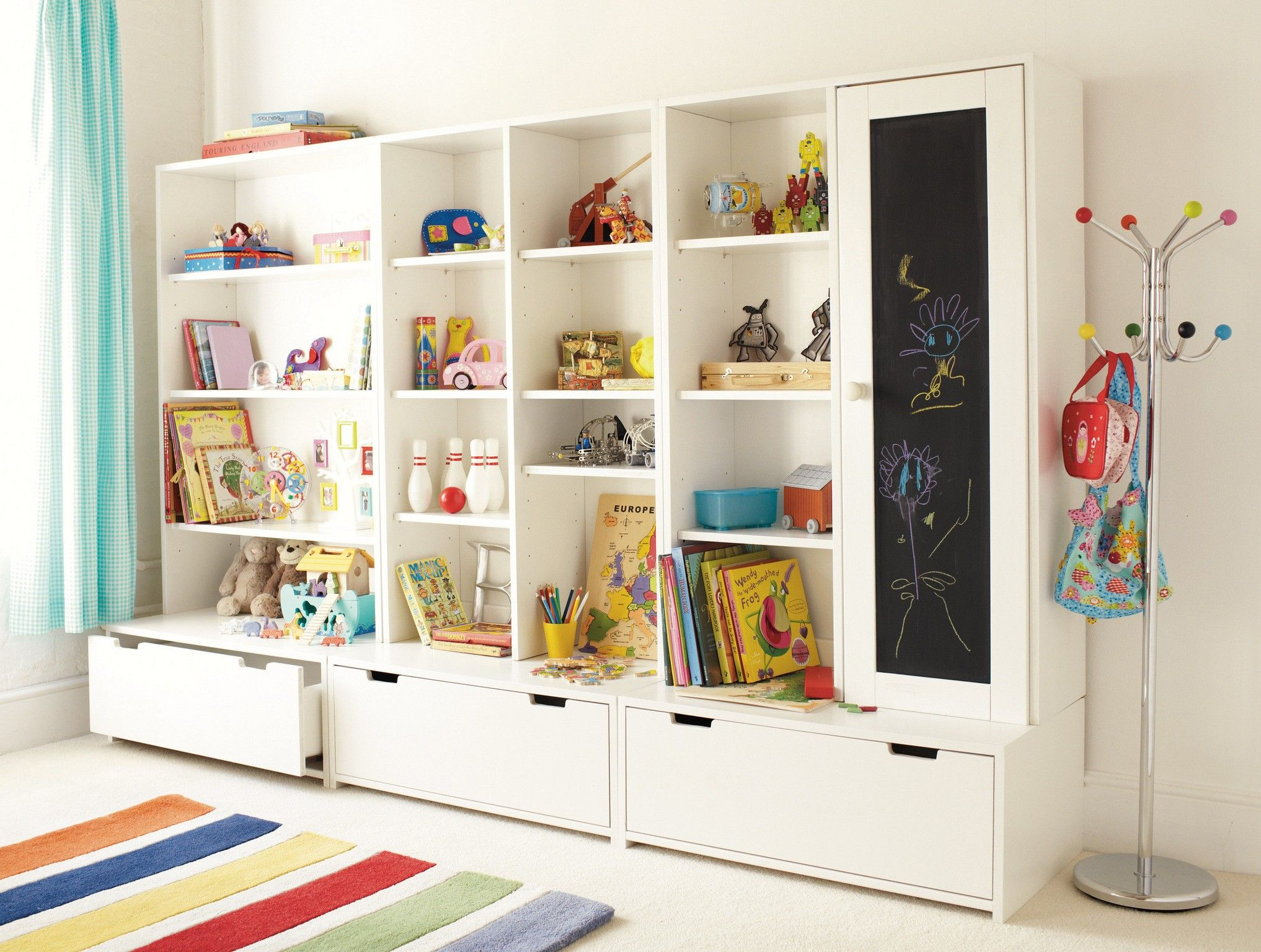 Appealing Playroom Storage Ideas Design With Large White Wall Shelf Cabinet And Drawer Also Free