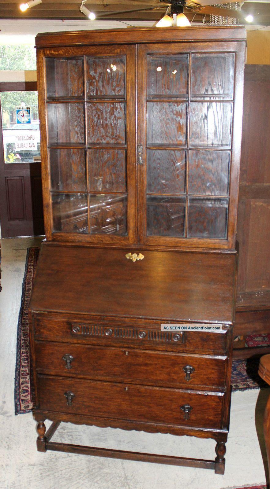 English Antique Secretary Desk Made From Oak 1900 1950