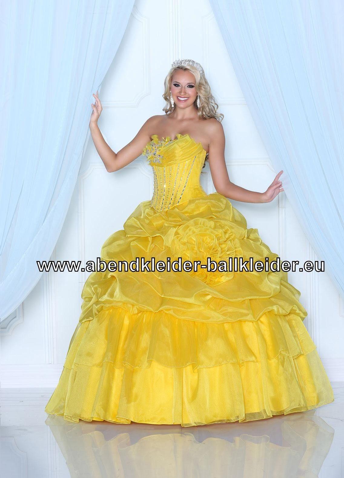 gelbes organza abendkleid ballkleid brautkleid online
