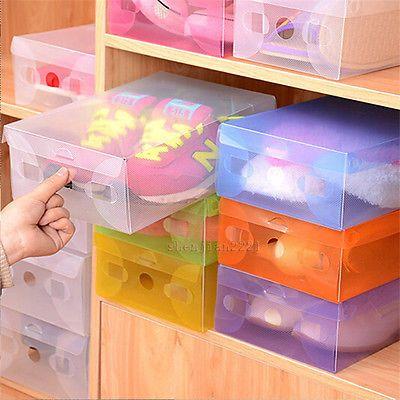 1-50 Pcs Home Plastic Clear Shoe Boot Box Stackable Foldable Storage Organizer