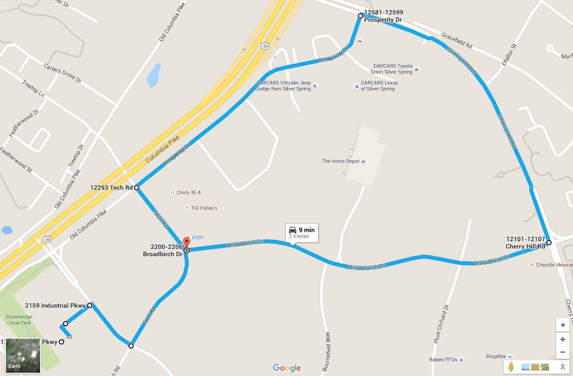 Maryland Mva Driving Test Route White Oak Route 1 Driving Test Route Driving