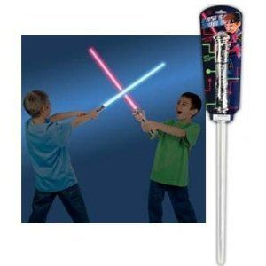 TOYSMITH Laser Sword Toy by Toysmith. $14.46. The action is space age with this light up saber that changes color on contact and makes cool sound effects in battle. 28'L. Made of plastic. Requires 3 'AA' batteries (included).