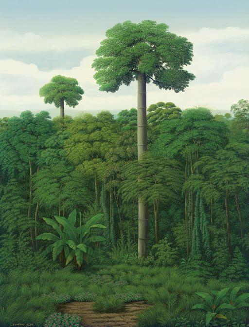 Isak Santana (Panamanian, b. 1962), Vegetación con cuipo, 2007. Acrylic on canvas, 129.5 x 101 cm.