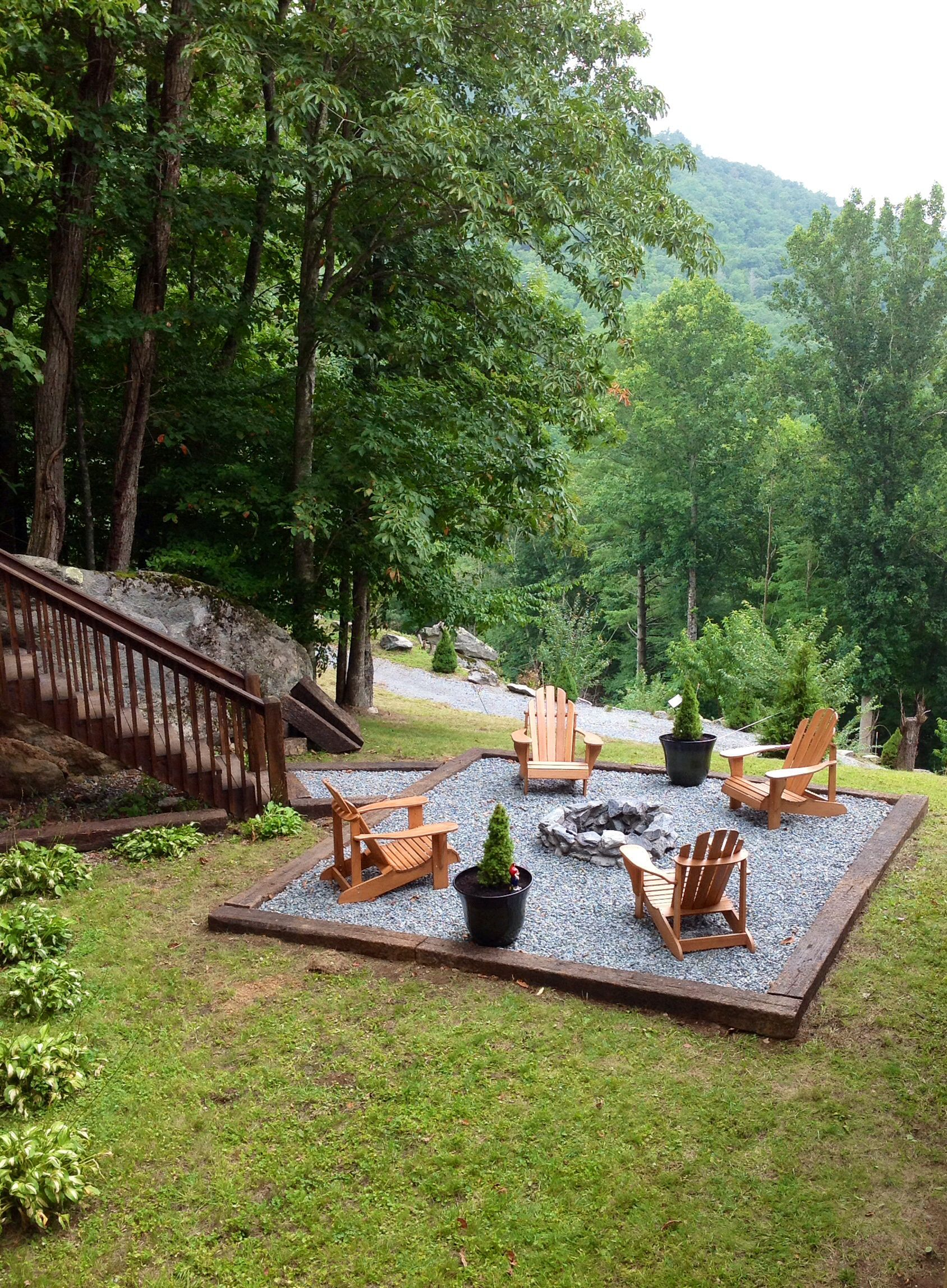 Beautiful Fire Pit And Chairs With Square Framed Gravel Patio