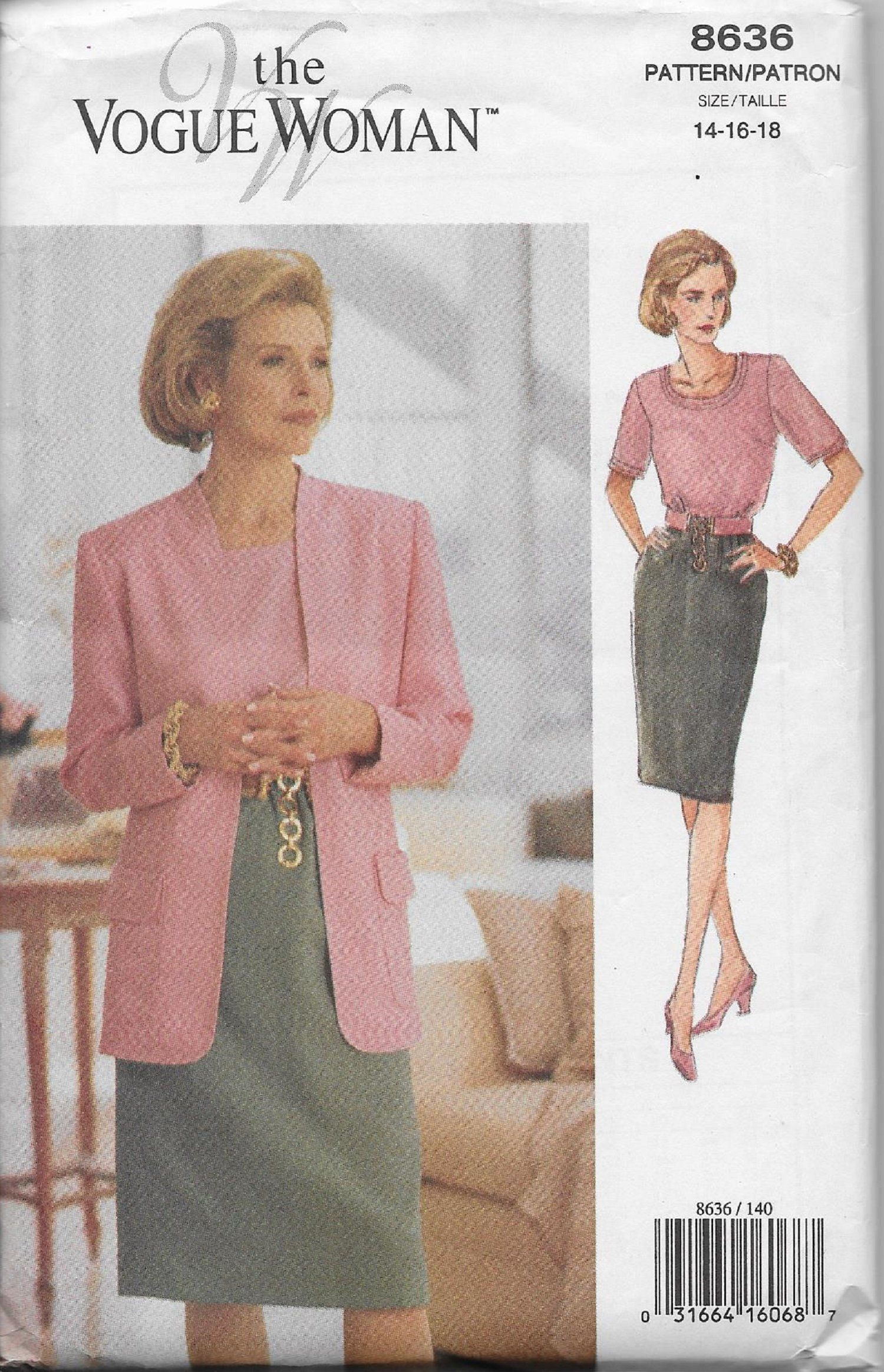 Vogue 8636 Misses/'//Miss Petite Jacket Top and Skirt   Sewing Pattern