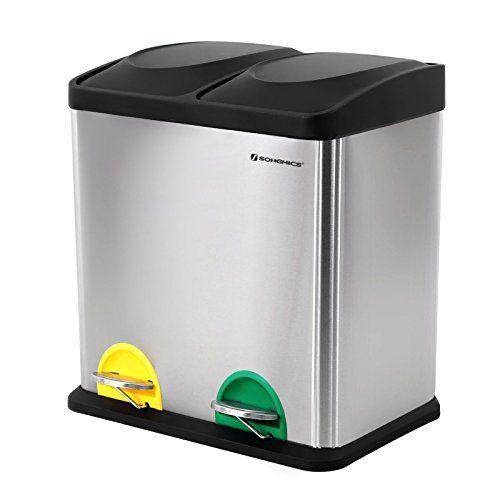 Songmics Mülleimer Abfalleimer 48 L für Küche Mülltrennsystem mit ...