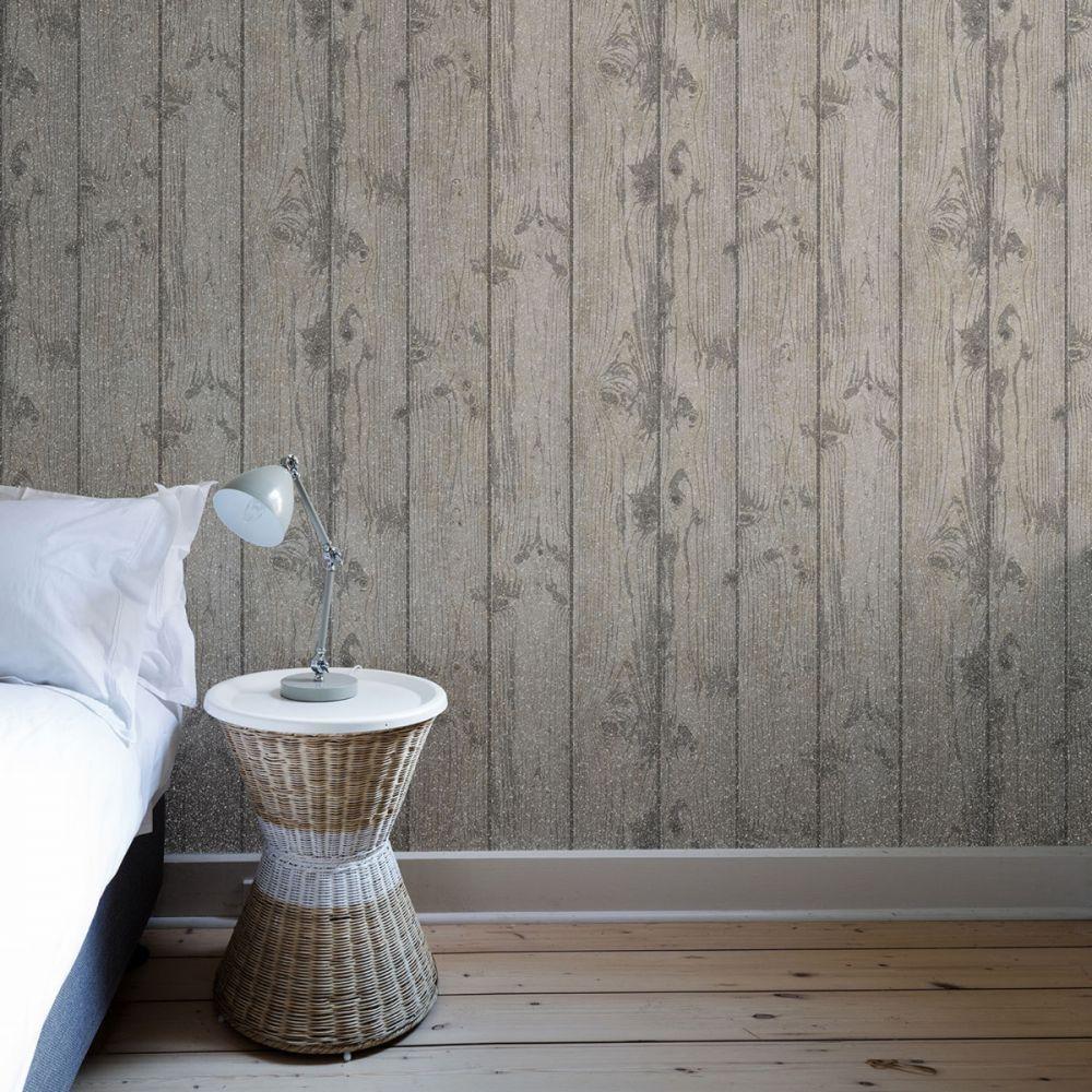 Glitter Wood Effect Wallpaper