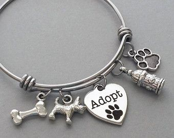 Dog Bangle Bracelet Dog Charm Bracelet Dog by PebbleCreekStudio
