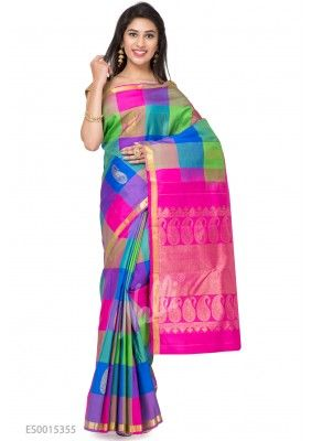 abcef2726d52f7 Multi Color Kanchipuram Silk Saree Silk Sarees, Pajama Pants, Sari, Blouse,  Color
