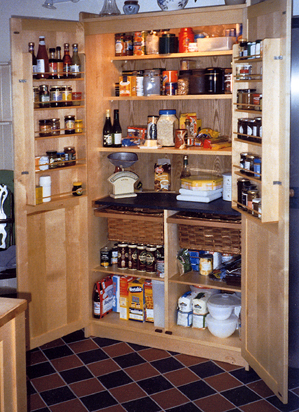 hidden free standing pantry-- wow love. Against the wall ...