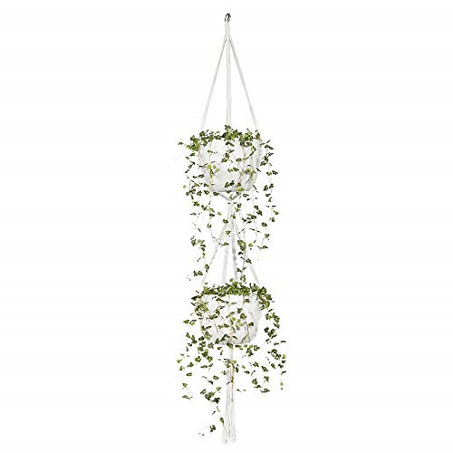 Macrame Double Plant Hanger Outdoor Indoor 2 Tier Hanging Planter Holder Hanging Plant Holder Ideas Of Plant Hold Plant Holders Plant Hanger Hanging Plants