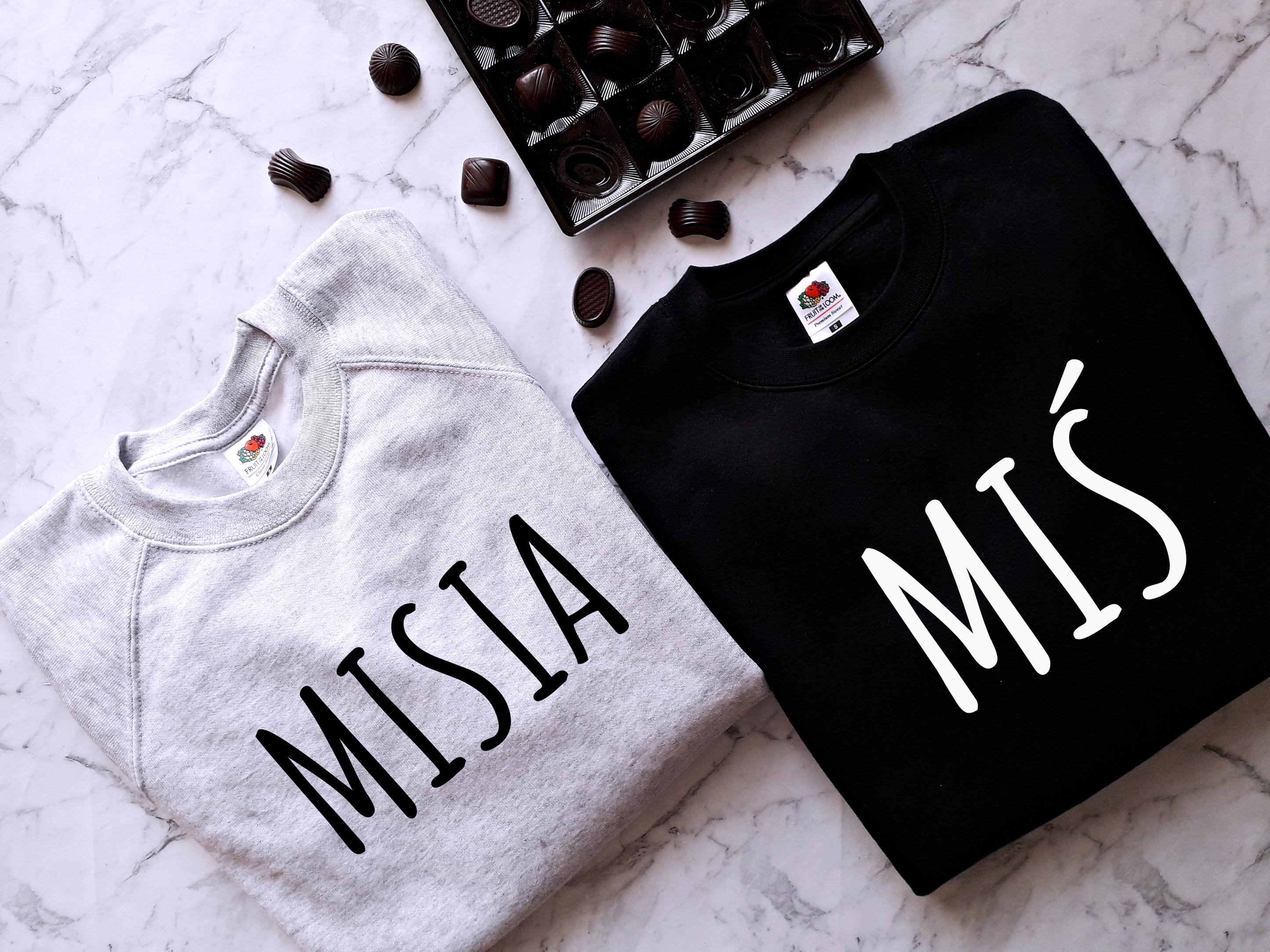 c87d8d66d BLUZY DLA PAR MISIA i MIŚ dla zakochanych na walentynki prezent damska  bluza MISIA dla par