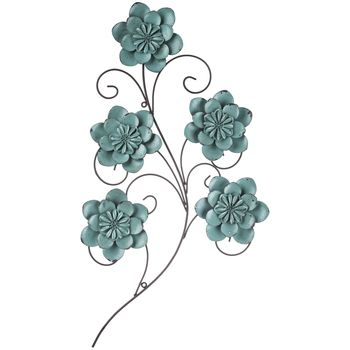 Turquoise Metal Flower Swirl Wall Decor Metal Flowers Metal Flower Wall Decor Metal Tree Wall Art