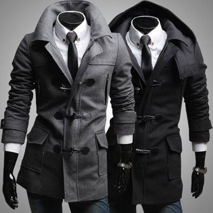 Slim Fit Fashion Men Toggle Wool Coat with Removable Hood | Sneak ...