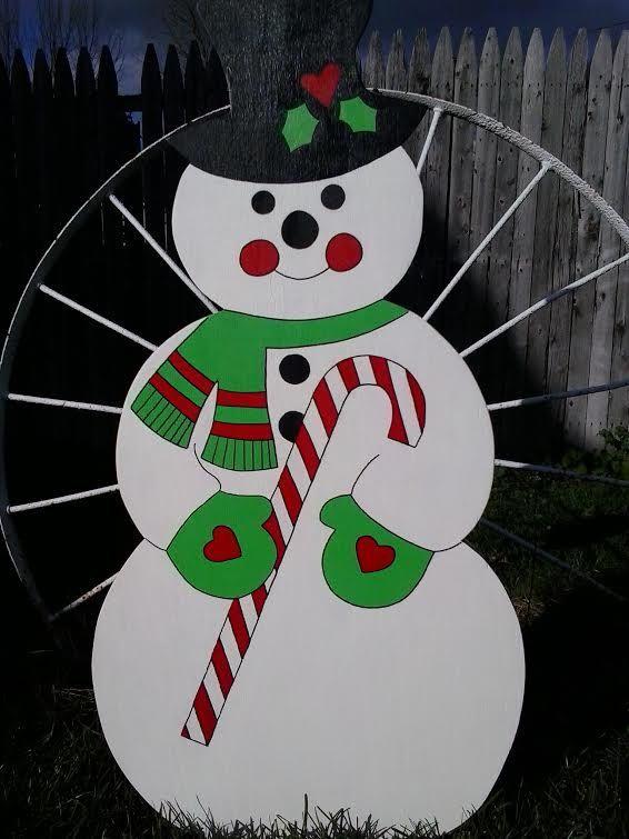 Snowman,Christmas Decor, Outdoor Wood yard art Lawn Decoration