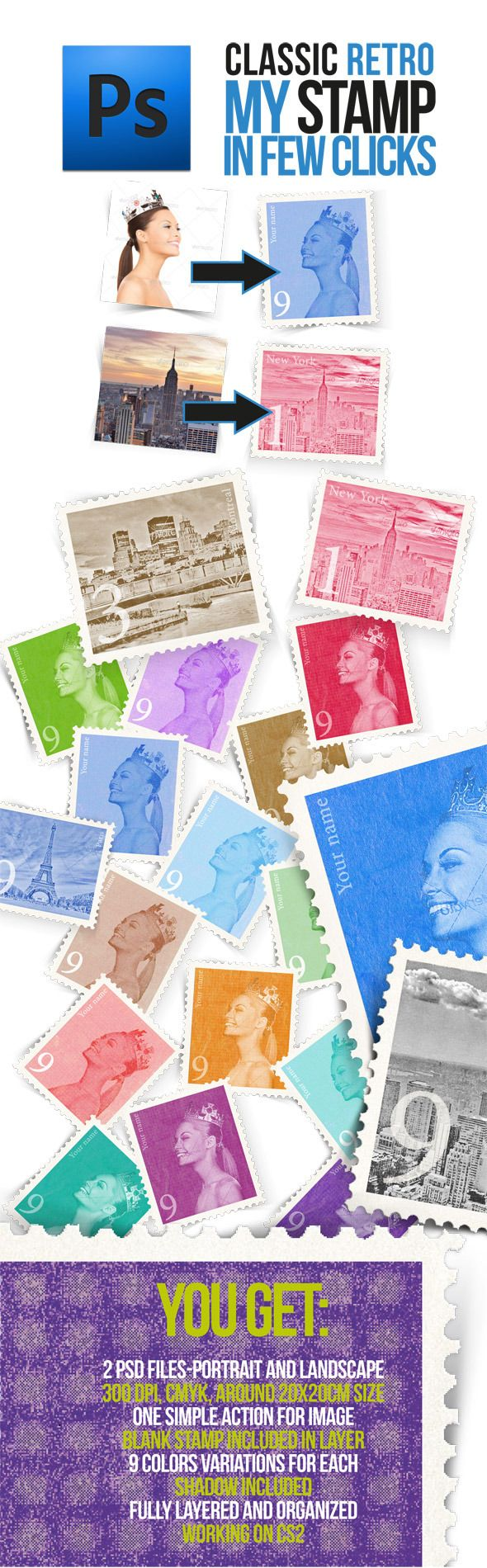 Retro Postage Stamp Template  Retro Photoshop And Font Logo