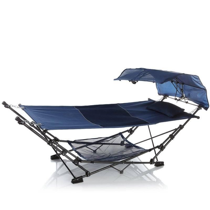 fieldsmith collapsible hammock with air mesh pillow   blue hsn home hammock with carry bag canopy and pillow holds 250 lbs      rh   pinterest