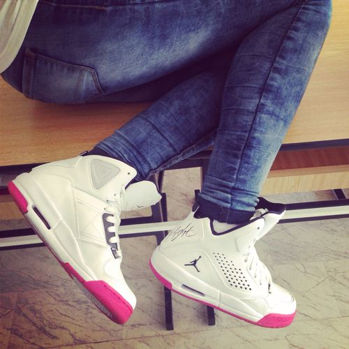 3eb3db1d5498b2 White and pink jordans fashion girly cute pink shoes instagram fashion and  style jordans