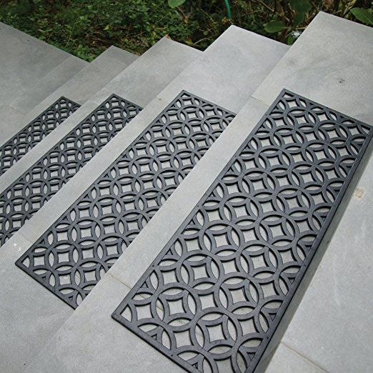 Rubber Cal Azteca Indoor Outdoor Stair Treads Rubber Step Mats 9 75 By 29 75 Inch Outdoor Stairs Stair Treads Indoor Outdoor