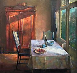 Kamer met perziken op tafel | schilderij van een interieur in ...