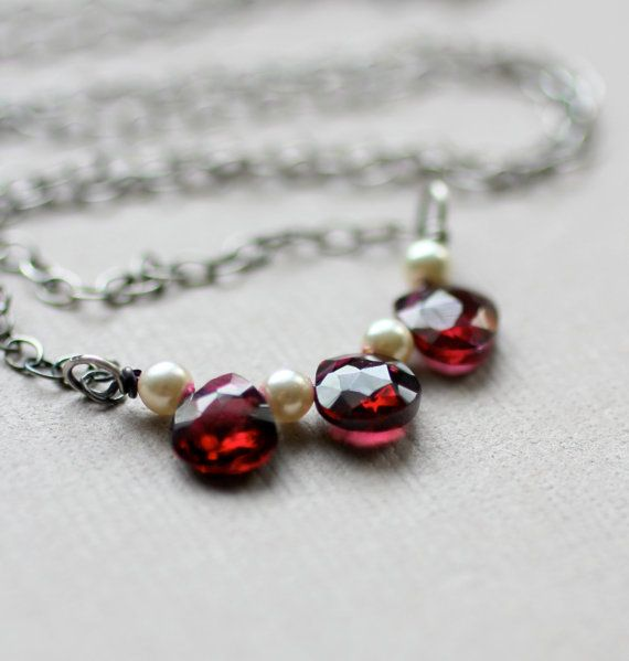 My birthstone :) Garnet Necklace Three gemstones and pearls on by LRoseDesigns. http://pinterest.com/pin/75013150013549502/