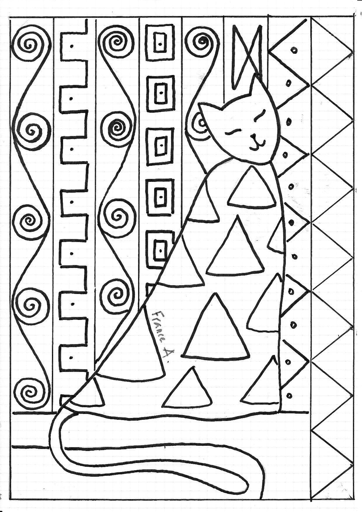 Chat Klimt   Dibujos para colorear   Pinterest   Plástica, Arte ...