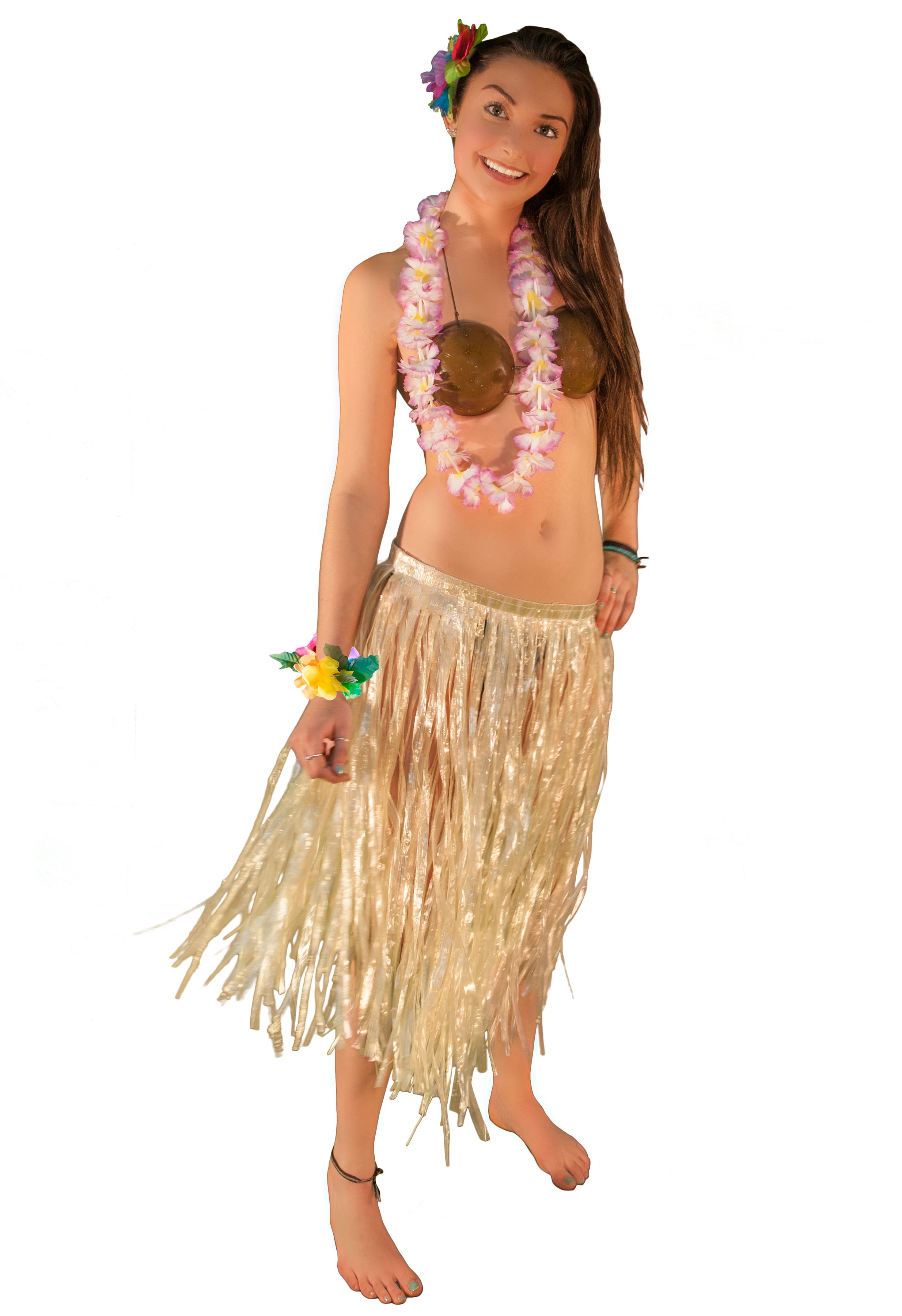 Shell Bra Hawaiian Luau Hula Girl Fancy Dress Halloween Adult Costume Accessory