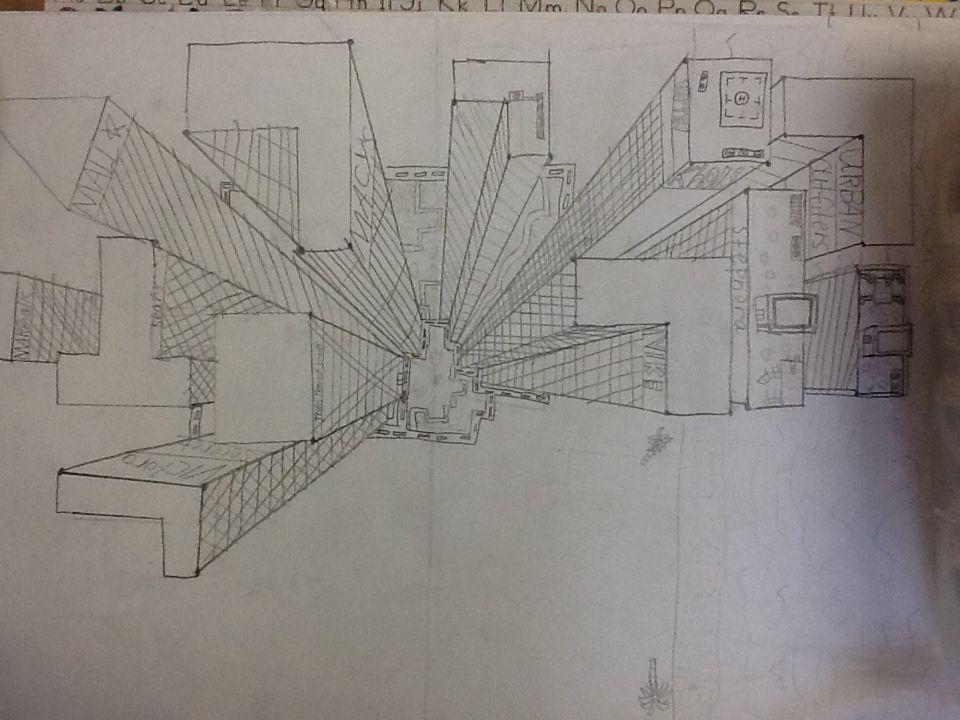 3d Line Drawings : D birds eye view city perspective horizons line vanishing