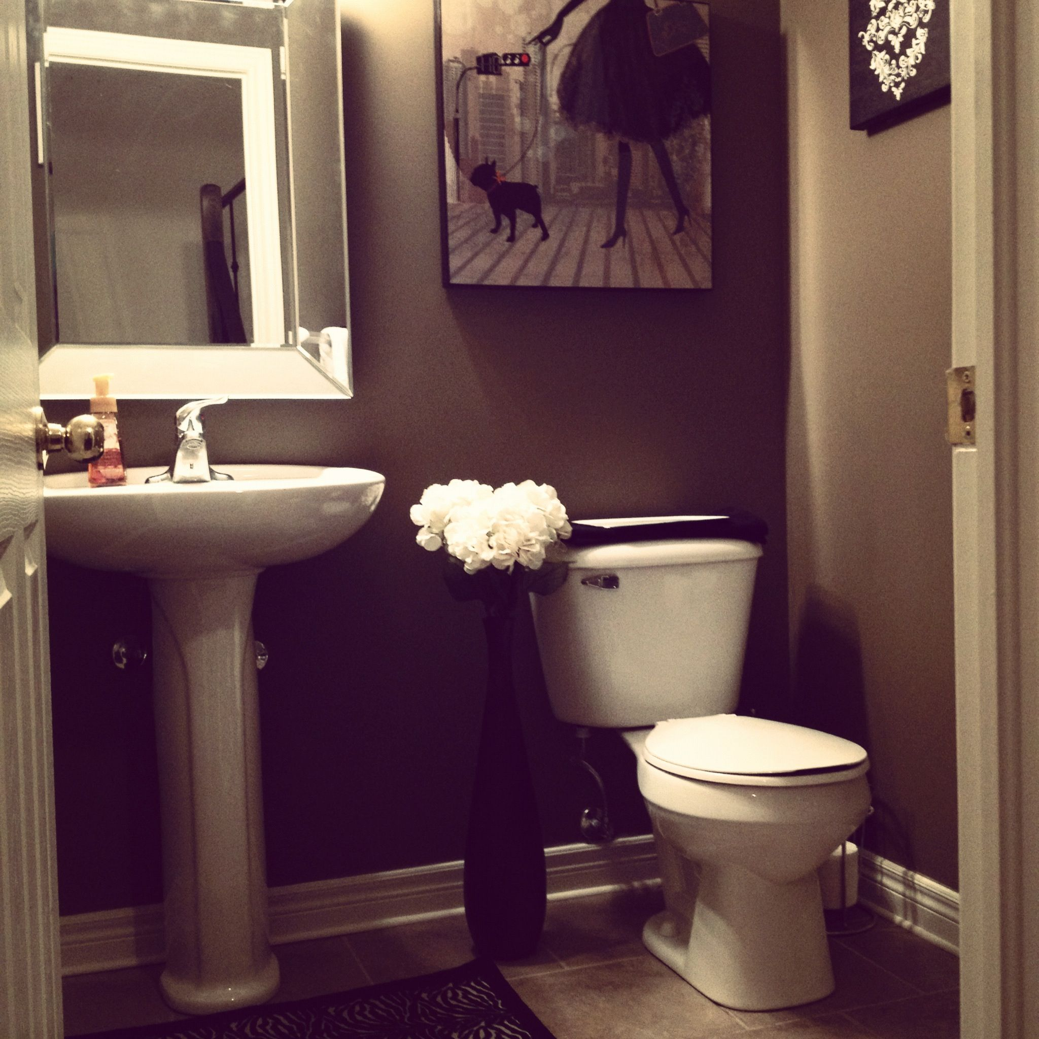 Evening in paris themed powder room paris bedroom for Bedroom with bathroom design