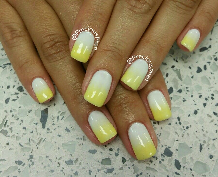 White And Yellow Ombre Nails Nails Ombre Nails Nail Candy