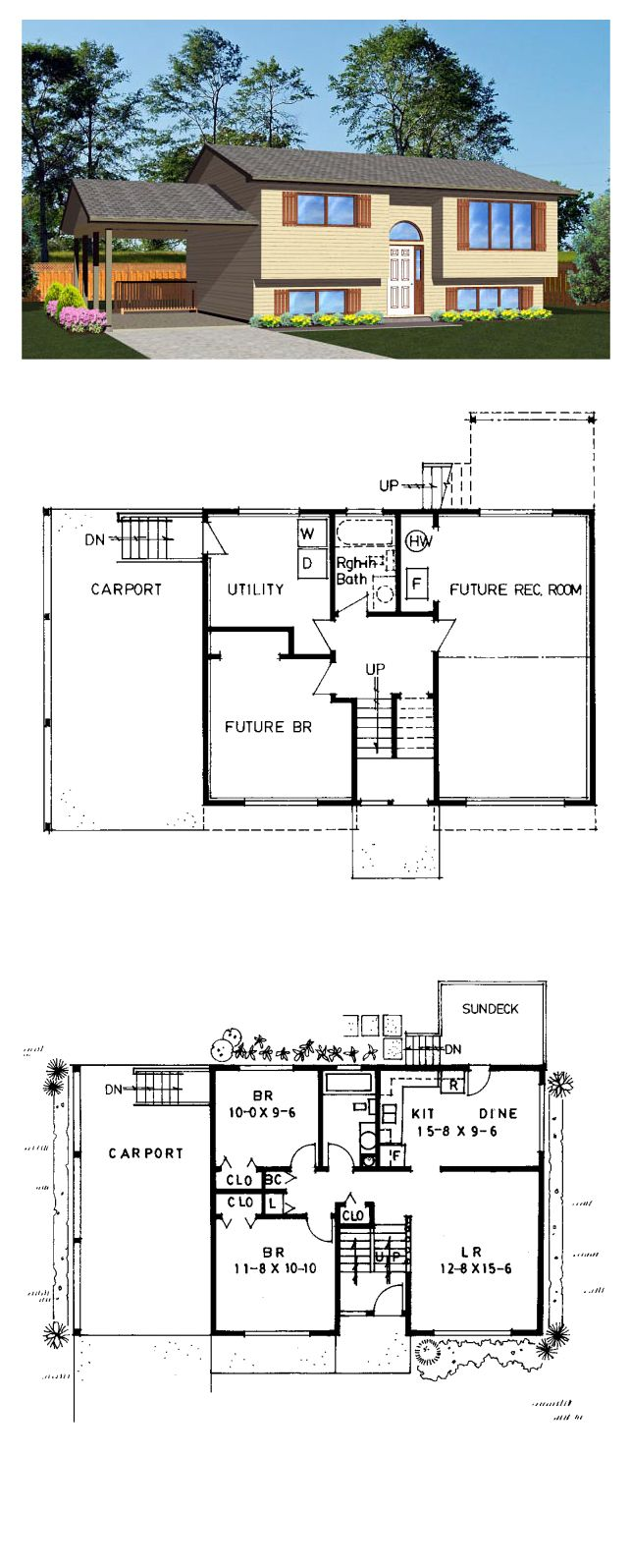 Retro Style House Plan 96221 With 2 Bed 1 Bath 1 Car Garage Floor Plans Saltbox Houses House Floor Plans