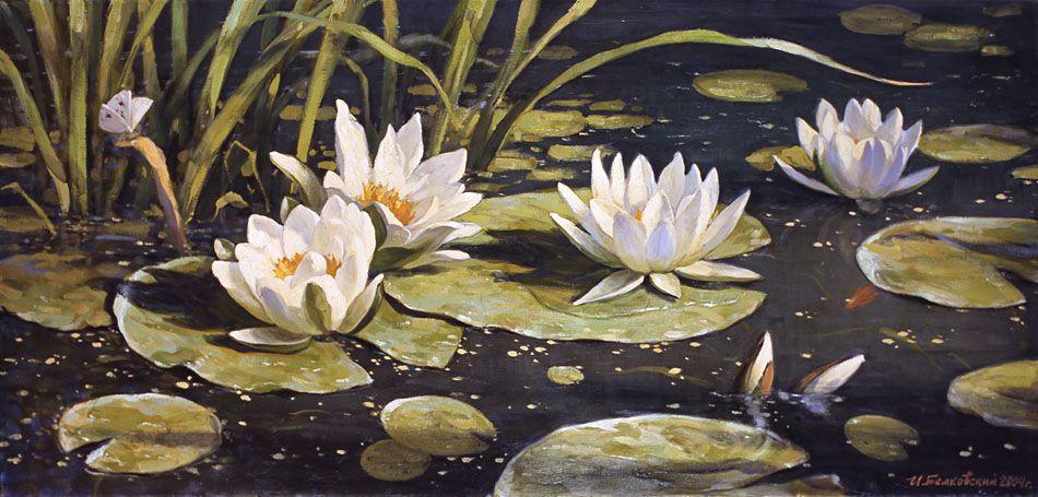 Lilies. The first beams - Igor Belkovsky - Russian Fine Art