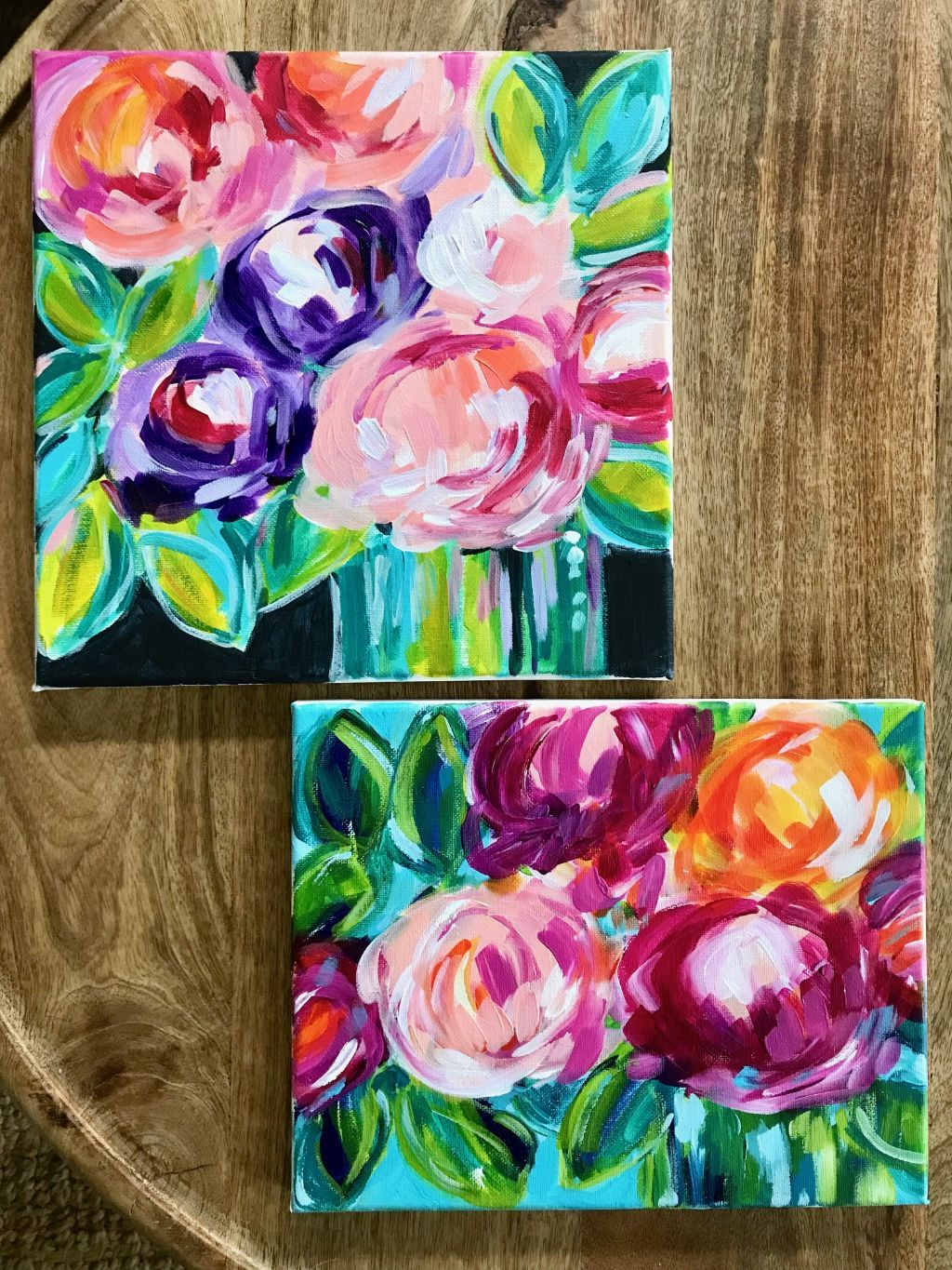 Tips And Techniques For Painting Abstract Flowers With Acrylics On Canvas In 2020 Easy Flower Painting Beginner Painting On Canvas Beginner Painting