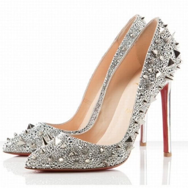 9e049639fe2 Christian Louboutin Pigalle Spikes 120mm Strass Pumps Silver