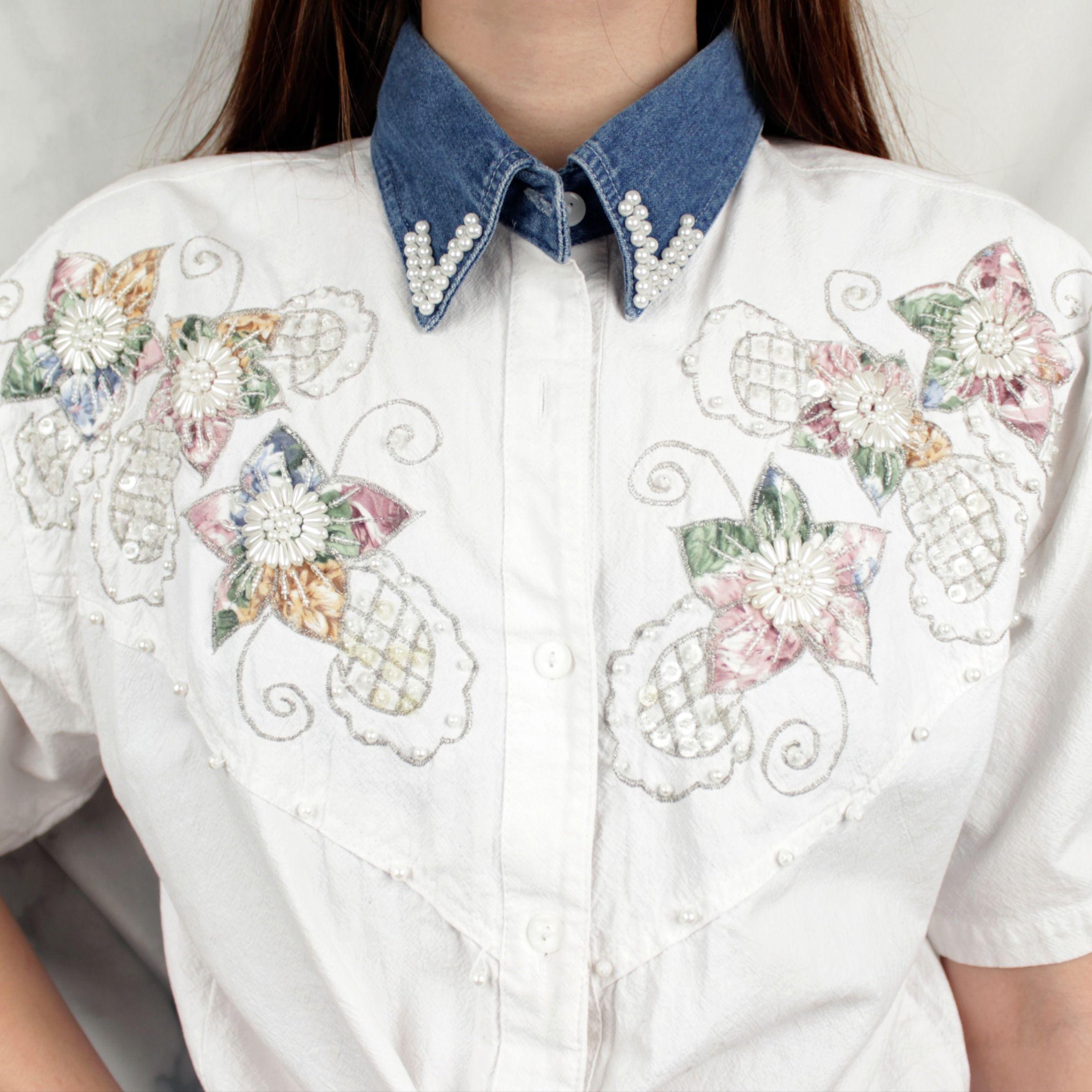 Vintage 80s Beaded Embroidered Collared Shirt Retro White Embellished Cowboy Western Unisex Short Sleeve Shirt Beaded Shirt Beaded Beaded Top