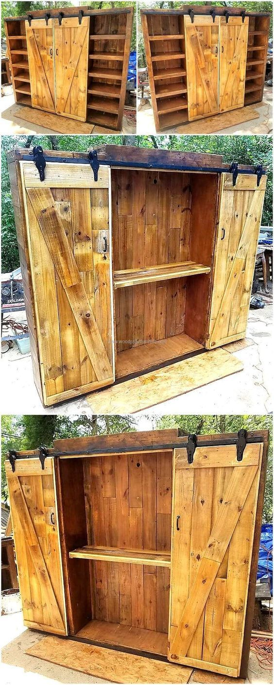 Recycled pallets entertainment center with sliding doors diy und selbermachen pinterest - Kleiderschrank aus paletten ...