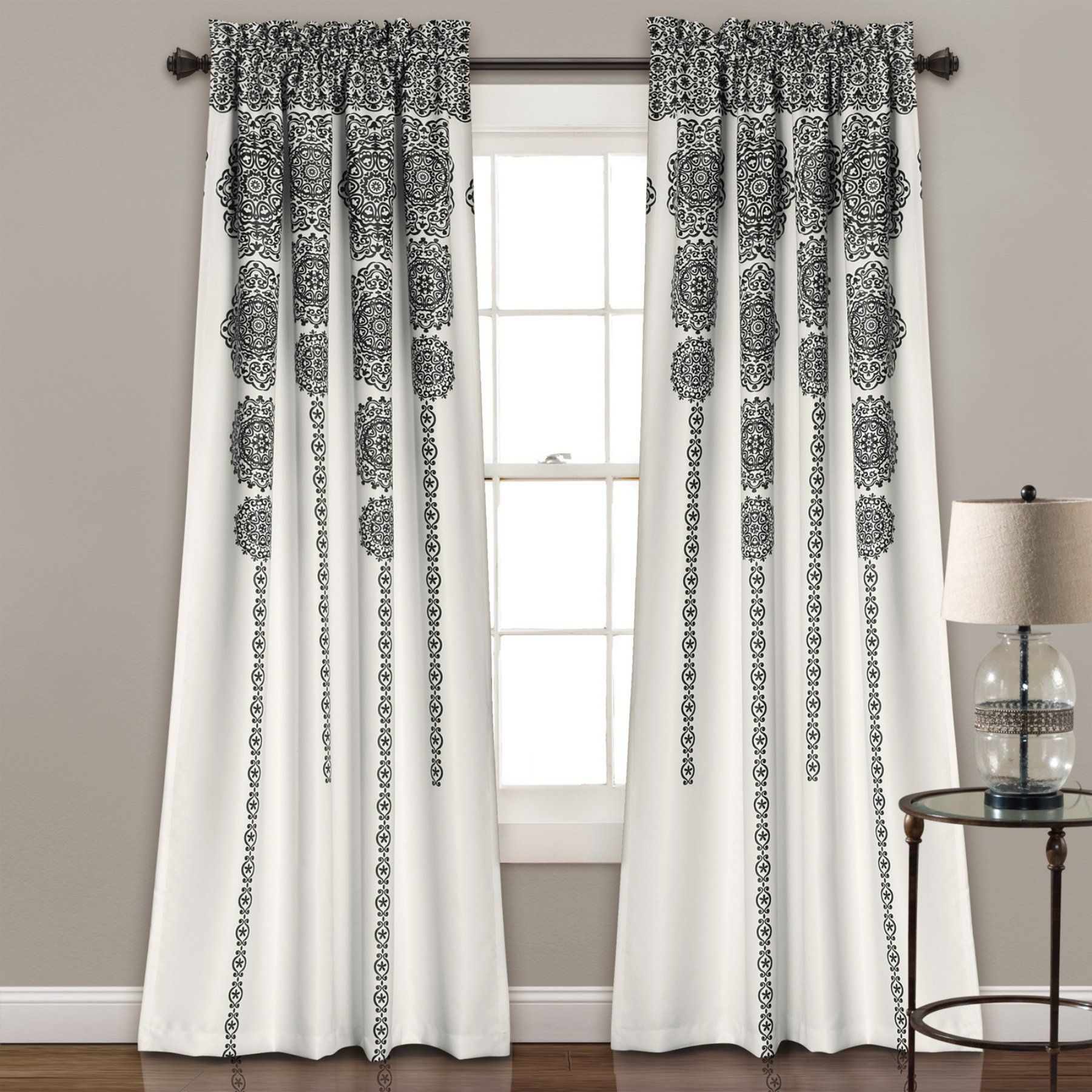 Triangle window coverings  triangle home fashions stripe medallion room darkening curtain set