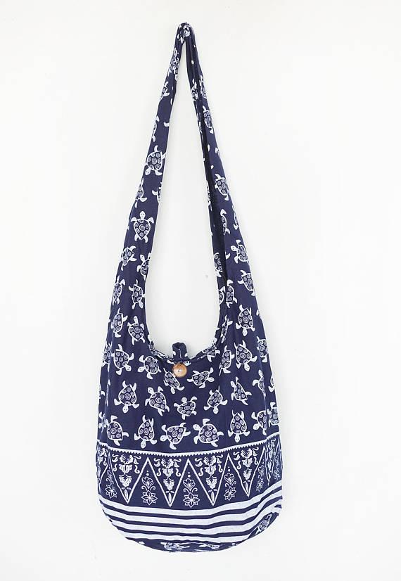 7849d19f4f4 Turtle Print Sling Boho Bag Shoulder Bag CrossBody Bag Cotton Bag Summer Bag  Beach Bag Hippie Gypsy
