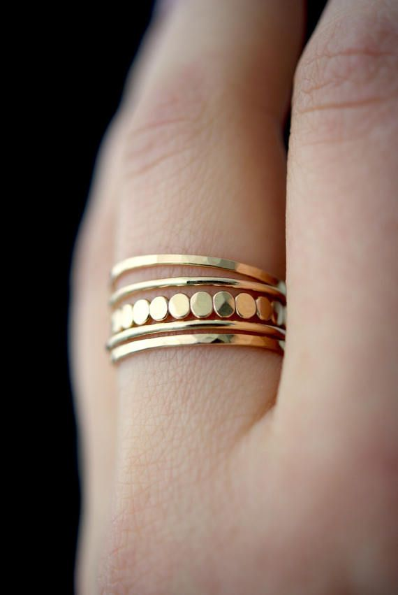 Medium Thickness Gold Bead Stacking Ring Set Gold Stack Ring Gold