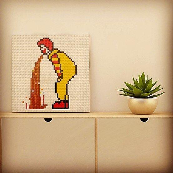 Ronnie's puke @lego mosaic. Special project. #lego #mosaic #creativebrick #specialproject #walldecoration #hangingdecoration #wallart #legoart #legodecoration #homedecor #legostagram #legomania #legomosaic