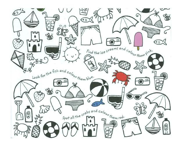 Summery Colouring Activity From Usbornes Lots Of Things To Find And Colour On Holiday